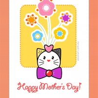 Ozzi Cat Magazine DIY printable greeting card for Mothers Day celebration