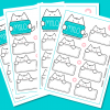 Milo Meow - Cat Stickers #001 (Pack of 4 sheets. 48 stickers)