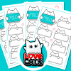 Milo Meow - Cat Stickers #001 (Pack of 4 sheets, 48 stickers + Neko Yoko Love Cats Magnet)