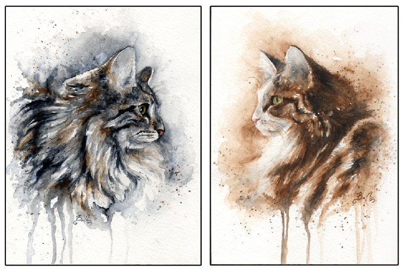Artist Braden Duncan - Watercolour Cat Drawings - Cat Portrait - ClockWorkArt