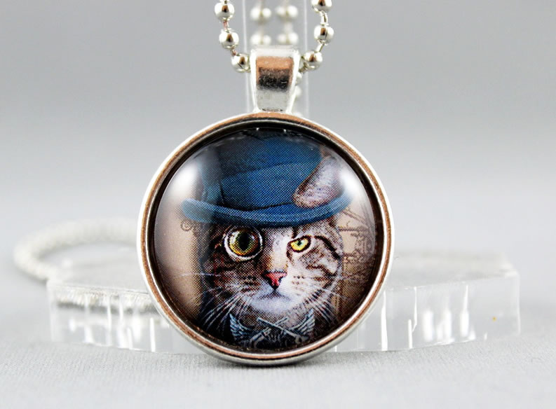 Pussy Cat Steampunk Style, Round Dome Glass Pendant Necklace - Gift for Cat Lover - Celebrate Cat Day