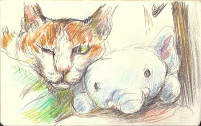 Postcard Cat and Elephant - Momo and Mr. Elephant