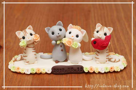 Nekono Shop - Kawaii Wedding Cake Cat Figurines From Japan - Cat Lover Gift