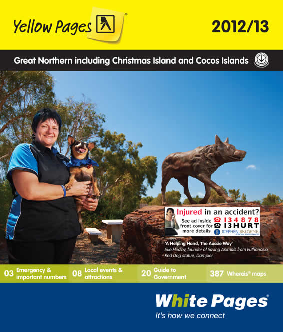 A Helping Hand, The Aussie Way: Cat Rescue by Sue Hedley (Saving Animals from Euthanasia) is featured on the cover of the Great Northern White and Yellow Pages