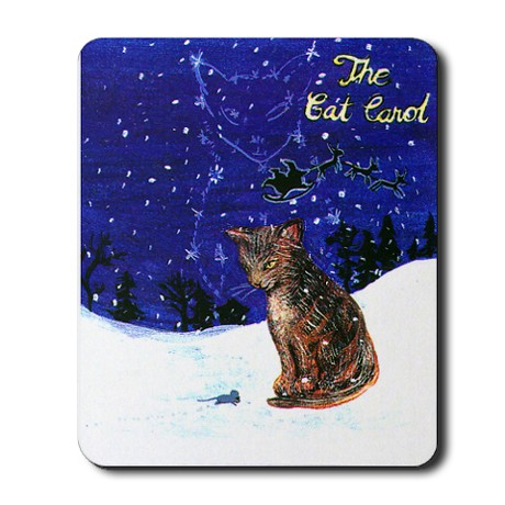 Gift for Cat Lover - Christmas Song - The Cat Carol - mousepad with cat