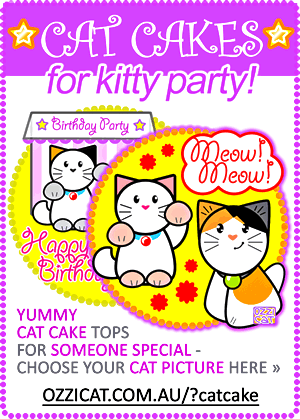 Happy Birthday - Custom Cat Cake - Kitty Party - Ozzi Kitty - Cat Lover's Pick - Featured in Australian National Cat Magazine Ozzi Cat