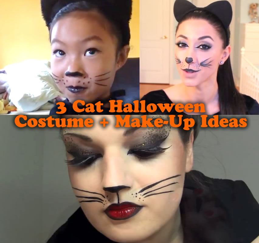 3 Cute Cat Halloween Costume And Make-Up Ideas For Kids And Adults