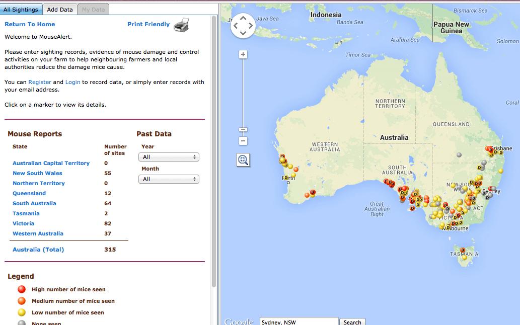 Feral Cat Scan web site - Mice Map