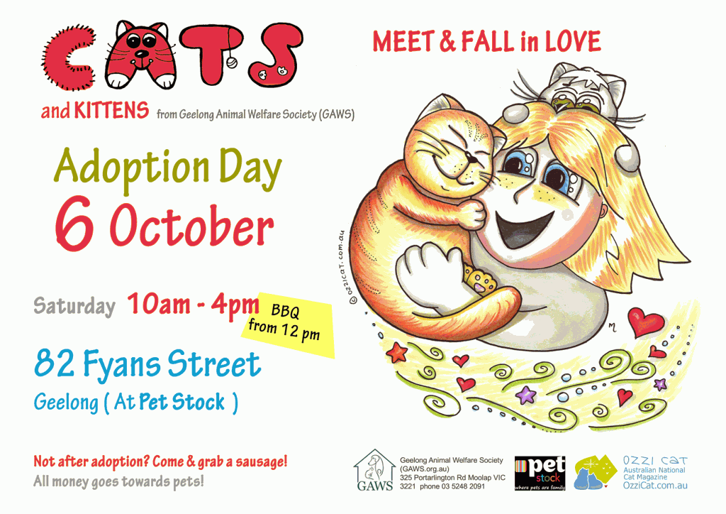 (for printing) Geelong Animal Welfare Society (GAWS), Adoption Day, 6 October at Pet Stock