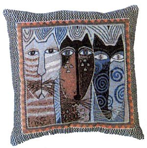 Laurel Burch Native Felines Cat Tapestry Throw Pillow