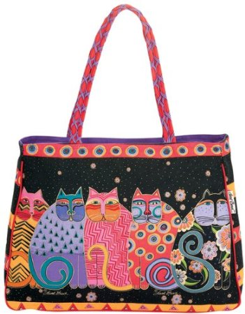 Laurel Burch Shoulder Tote Feline Family Portrait