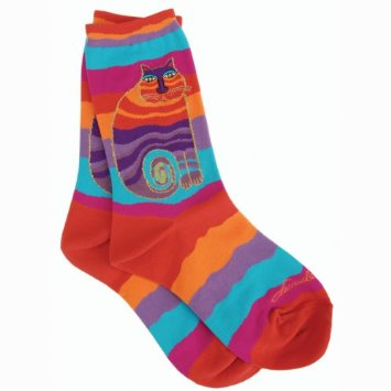 Laurel Burch Socks Rainbow Cat Multi Wavy Stripe