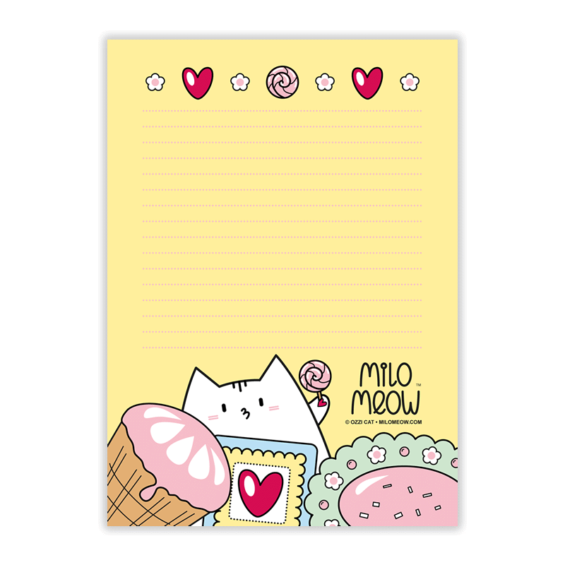 Milo Meow Notepads and Cat Kitten Stationery
