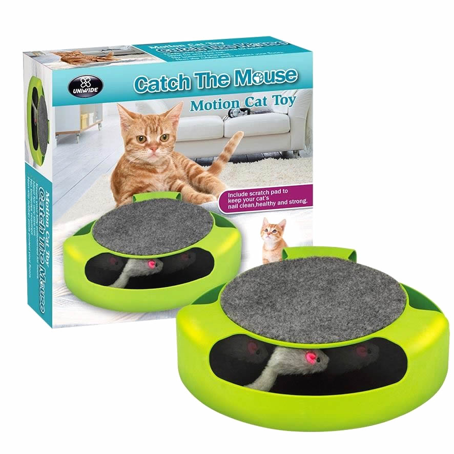 Cat & Kitten Toy - Catch The Mouse - Interactive Motion Cat Training System with Scratchpad