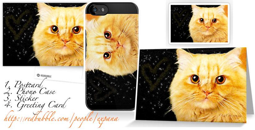 Ozzi Cat Art - Cat postcard, greeting card, phone case, sticker, T-shirt