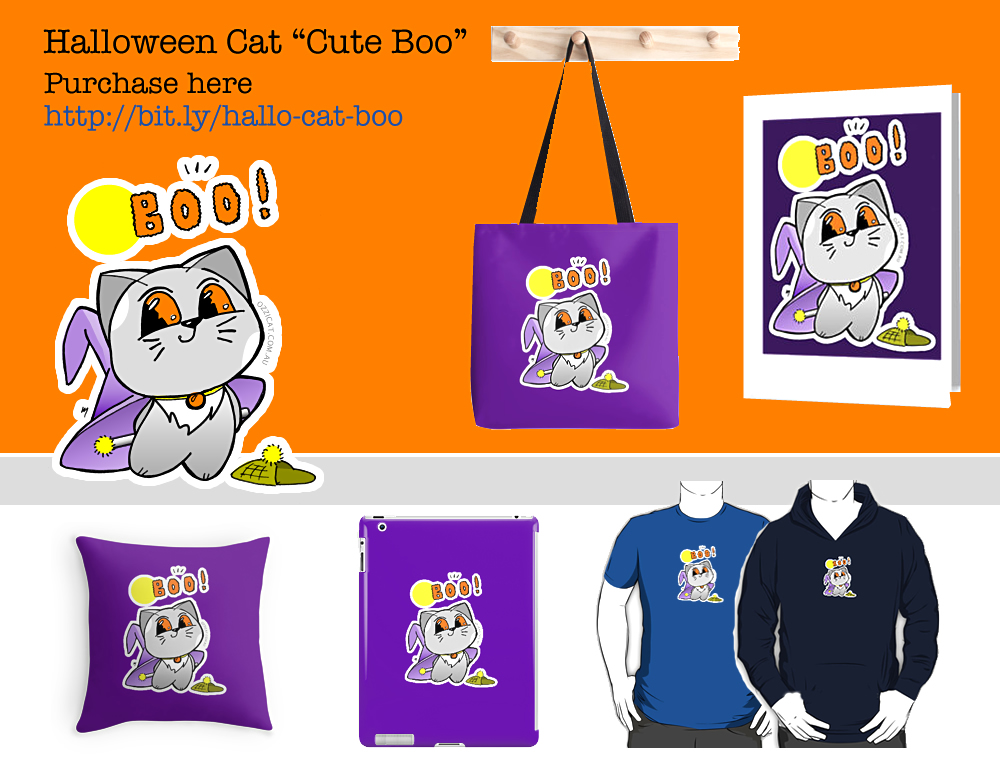 "Halloween Cat ""Cute Boo"": Stickers, Greeting Card, Bag, T-Shirt And More"