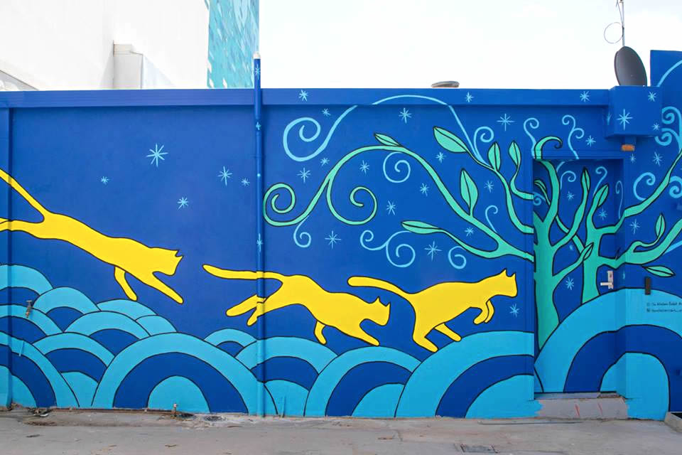 perth cat hospital opened with beautiful cat mural on
