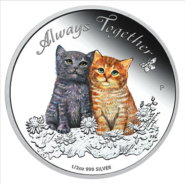 Perth Mint - cats - Always Together 2015 - half ounce silver coin - StraightOn