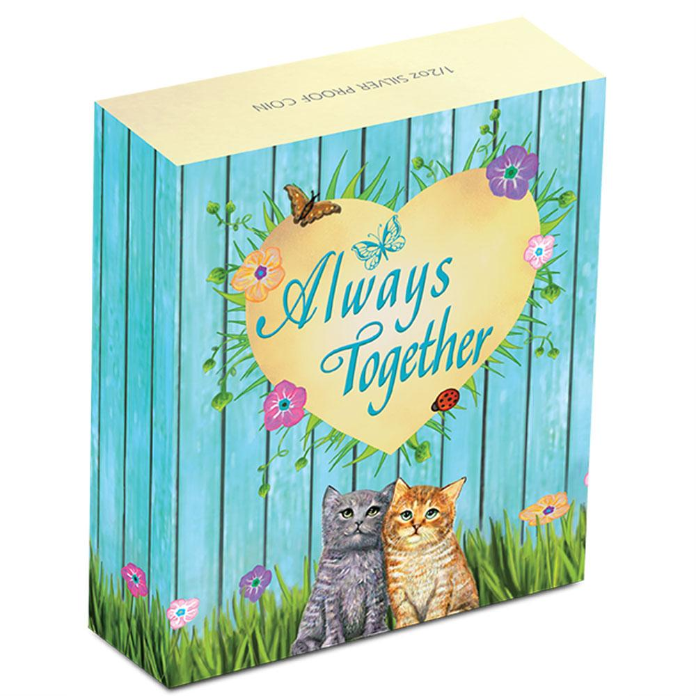 Perth Mint - cats - Always Together 2015 - half ounce silver coin - shipper