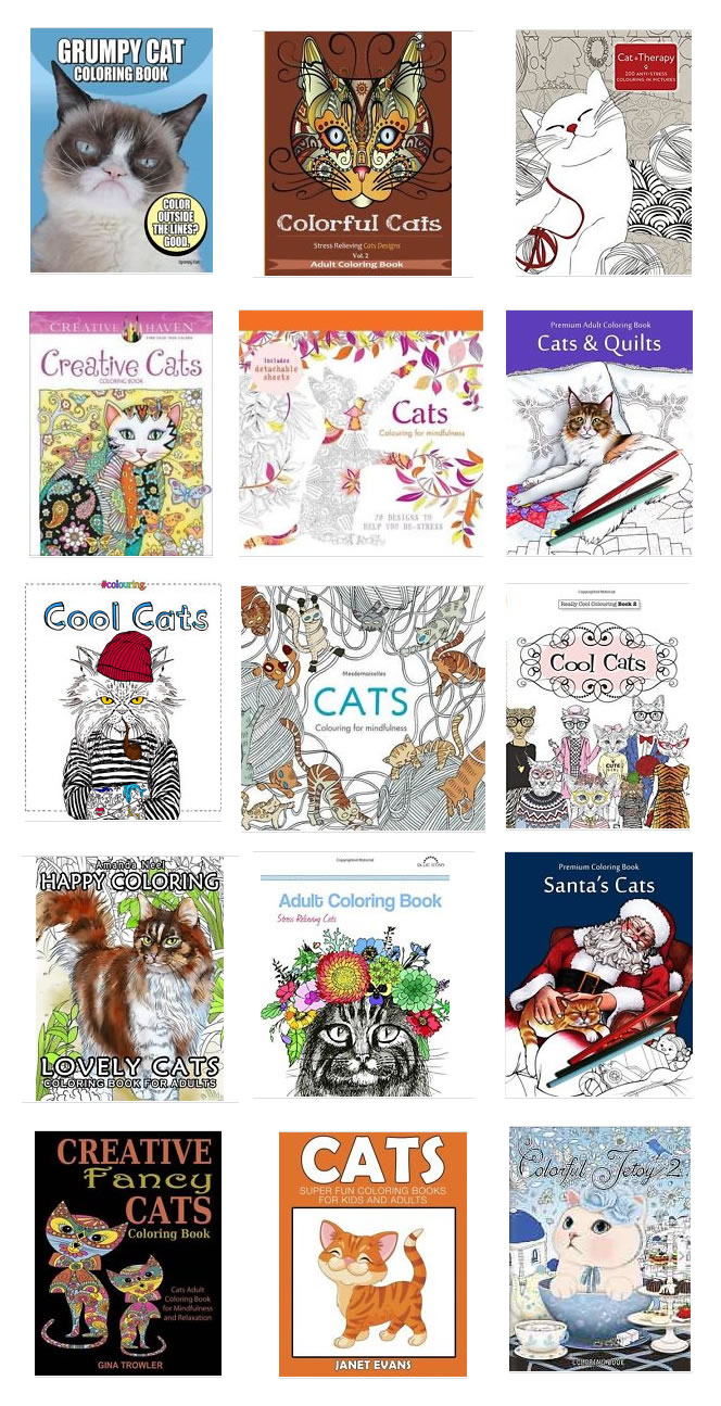 Adult cat colouring books - Cat lovers gift - Christmas