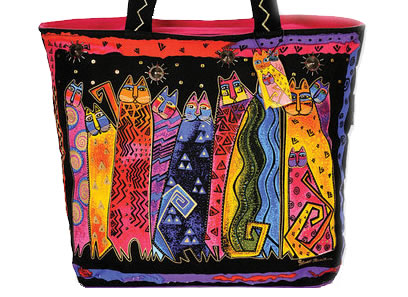 Cat artist Laurel Burch's bag with cat design