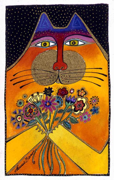 Cat artist Laurel Burch's cat with flowers
