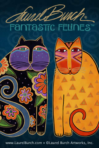 Cat artist Laurel Burch's iphone cat wallpaper