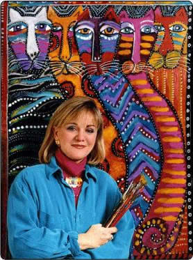 Cat artist Laurel Burch with her cats