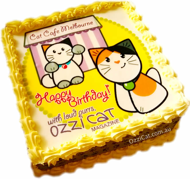 Ferguson Plarre Bakehouse - Happy Birthday - Custom Cat Cake - Kitty Party - Ozzi Kitty - Cat Lover's Pick - Featured in Australian National Cat Magazine Ozzi Cat