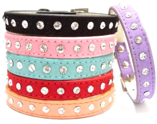 Bling Rhinestone Diamond Cow Suede Leather Neck Safety Collar