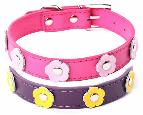 Colourful Cat Collar with Cute Flower, PU Leather