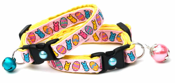 Easter Cat Collar - Cute Bunnies and Eggs on Pink - Designer Cat Collar