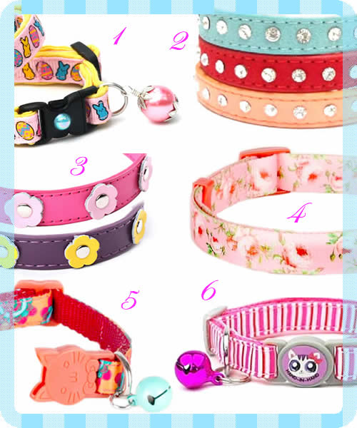 cat collar - Easter colour - release safety clip breakaway - bell - Blueberry Pet