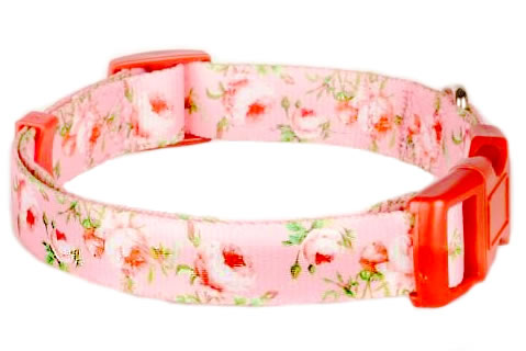 Blueberry Pet - Spring Inspired Floral Rose Baby Pink Polyester Cat Collar