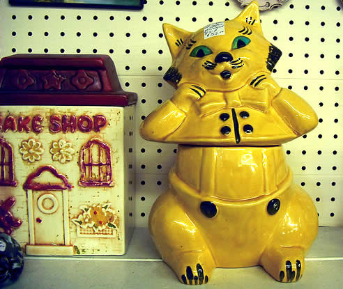 Cat cookie jar - cat man in trousers