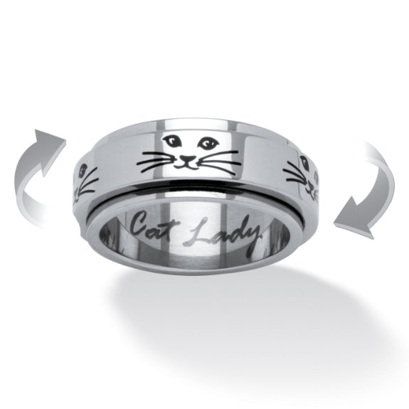 PalmBeach Jewellery Cat Lady Spinner Ring in Black IP Stainless Steel