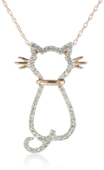 Rose Gold Diamond Cat Pendant Necklace