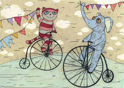Postcard Cat and Elephant on Unicycle