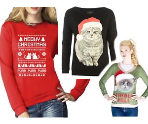 Ugly cat Christmas sweater - sweatshirt - Grumpy Cat - cat lady cat lover guide